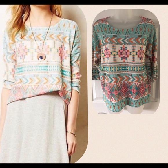 Kin Anthropologie Top Women/'s Size medium Southwest Print Knit Blouse Akemi